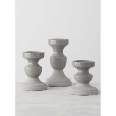 3 Piece Pillar Ceramic Candlestick Set - Wayfair