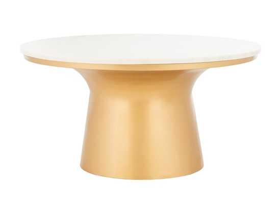 Mila Pedestal Coffee Table - White Marble/Brass - Arlo Home - Arlo Home
