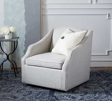SoMa Emma Upholstered Swivel Armchair, Polyester Wrapped Cushions, Heathered Twill Stone - Pottery Barn