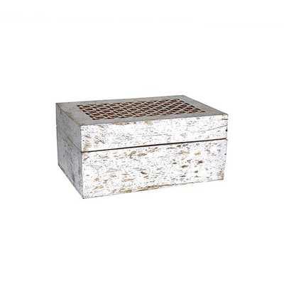 Trellis Box Large in Distressed Silver - Koa Artisans