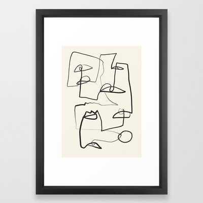 "Abstract line art 12 Framed Art Print - 15"" x 21"" - vector black - Society6"