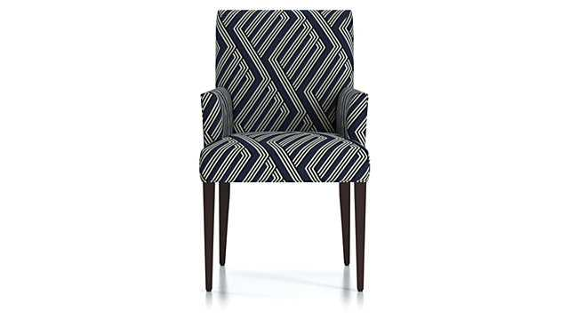 Miles Upholstered Dining Chair -Hanna, Sapphire, Leg Hickory - Crate and Barrel