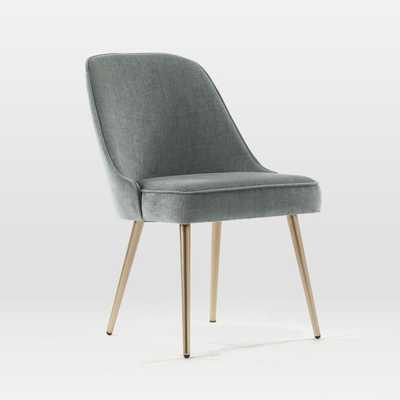 Mid-Century Upholstered Chair, Blackened Brass, Distressed Velvet, Mineral Gray - West Elm