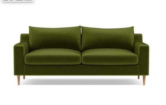 Sloan Sofa with Green Moss Fabric, down alternative cushions, and Natural Oak tapered round legs - Interior Define