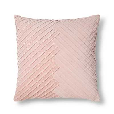 Blush Pleated Velvet Throw Pillow - Fieldcrest - Target