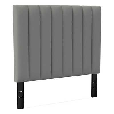 Channel Tufted Headboard Tall, King, Performance Washed Canvas, Feather Gray - West Elm