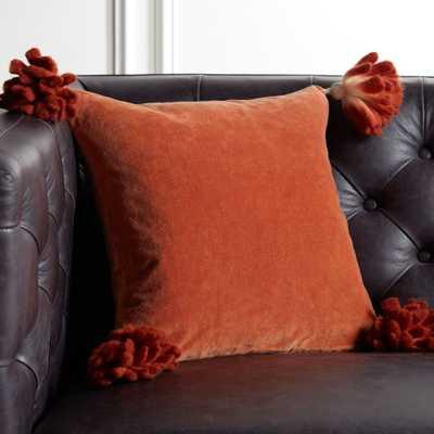 """16"""" Bia Tassel Ginger Pillow with Down-Alternative Insert - CB2"""