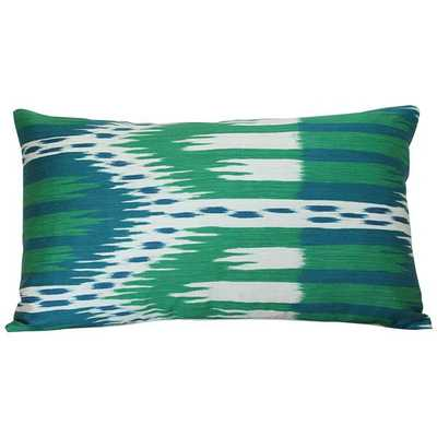 Bukhara Ikat Emerald & Peacock - 13x19 pillow cover (lumbar - medium) / pattern on front, solid on back - Arianna Belle