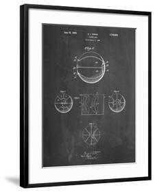 "PP222-Chalkboard Basketball 1929 Game Ball Patent Poster -  24"" x 32"" - Chelsea Black - 3.0"" Crisp - Bright White Mat - Acrylic: Clear - art.com"