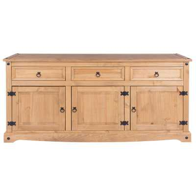 "Kaylin 65.91"" Wide 3 Drawer Pine Wood Sideboard - Wayfair"