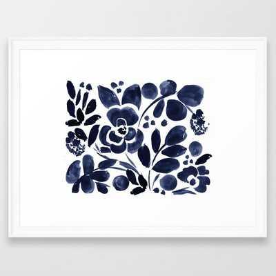 Navy Floral Framed Art Print - Society6