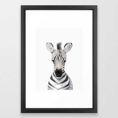Baby Zebra Portrait Framed Art Print - Society6