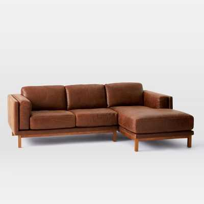 Dekalb Leather 2-Piece Chaise Sectional- chaise on right - West Elm