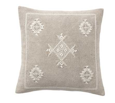"""Kalera Embroidered Pillow Cover, 18"""", Neutral - Pottery Barn"""