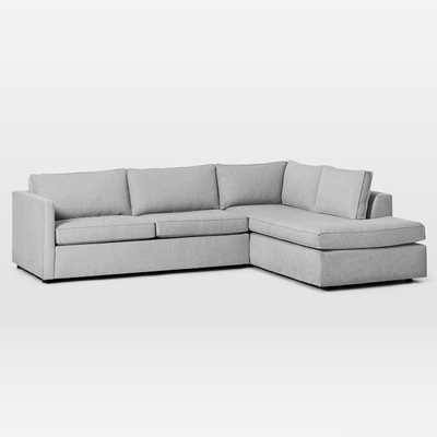 "Harris Sectional Set 09: Left Arm 65"" Sofa, Right Arm Terminal Chaise, Poly, Chenille Tweed, Irongate, - West Elm"