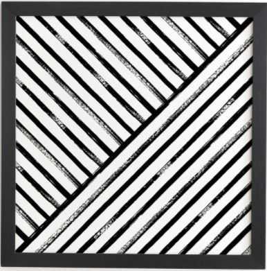 Geometric Stripe Pattern - Black framed wall art 12x12 - Wander Print Co.