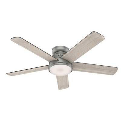 Romulus 54 in. Integrated LED Indoor Matte Silver Low Profile Ceiling Fan with Light Kit and Remote Contro - Home Depot