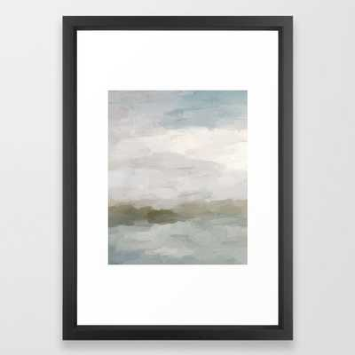 Gray Blue Sage Green Sunrise Abstract Nature Ocean Painting Art Print Wall Decor Framed Art Print - Society6