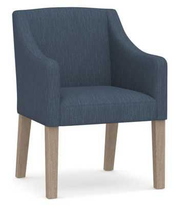 Classic Slope Arm Upholstered Dining Armchair, Blackened Oak Legs, Performance Heathered Tweed Indigo - Pottery Barn