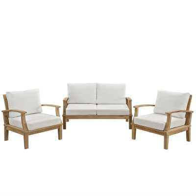 Elaina Teak 3 Piece Sofa Set with Cushions - Wayfair