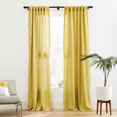"""Belgian Linen Curtain, Sand Yellow, 48""""x96"""" - West Elm"""