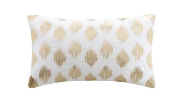 Nadia Dot Embroidered Lumbar Throw Pillow in Gold - Target