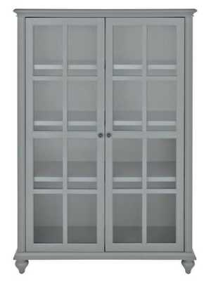 Hamilton 60 in. H Grey Glass Door Bookcase - Home Depot