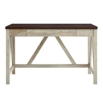 Washington Mews A-Frame Writing Desk - Traditional Brown Top/White Oak Base - Wayfair