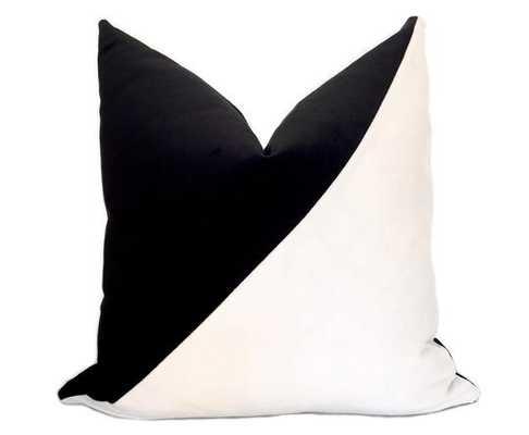 """Slash Colorblock Velvet Pillow Cover - 24""""x 24"""" - Insert not included - Willa Skye"""