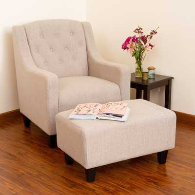 Elaine Light Beige Tufted Fabric Club Chair with Ottoman by Christopher Knight Home - Overstock