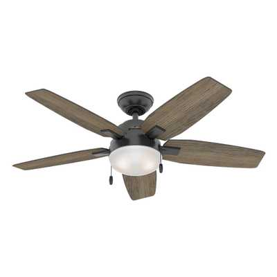 Hunter Antero 46 in. LED Indoor Matte Black Ceiling Fan with Light Kit - Home Depot
