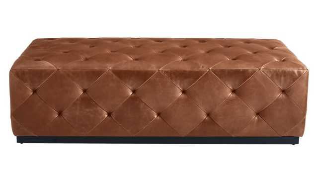 SADDLE LEATHER TUFTED OTTOMAN - Crate and Barrel
