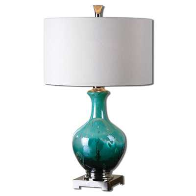 Yvonne Green Blue Glass Table Lamp - Hudsonhill Foundry
