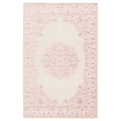 Fontanne Machine-Woven Chenille Ivory/Baby Pink Area Rug - Wayfair