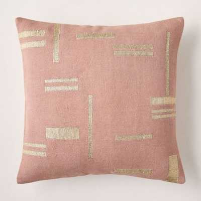 """Embroidered Metallic Blocks Pillow Cover, 20""""x20"""", Pink Stone - West Elm"""
