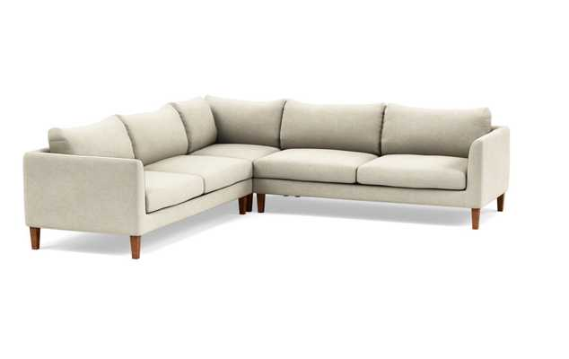 Owens Corner Sectional with Flax Fabric and Oiled Walnut Tapered Square Wood Legs - Interior Define