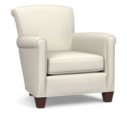 Irving Roll Arm Leather Armchair, Polyester Wrapped Cushions, Signature Chalk - Pottery Barn