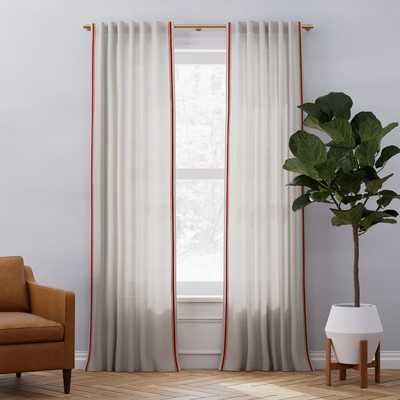 "Belgian Flax Linen Embroidered Stripe Curtain - Flax/Terracotta - 96"" - West Elm"