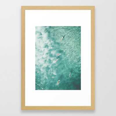 Surfing in the Ocean Framed Art Print - Society6