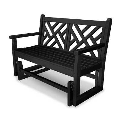 POLYWOOD® Chippendale Glider Bench in Black - AllModern