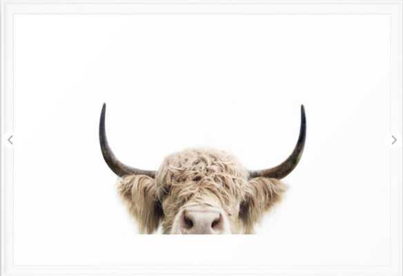 Peeking Highland Cow Framed Art Print - Society6
