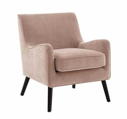 Book Nook Armchair, Poly, Distressed Velvet, Light Pink, Chocolate - West Elm