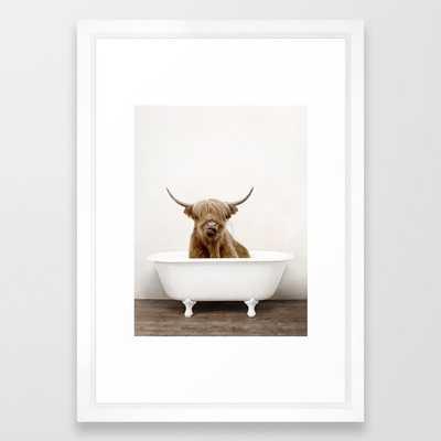 Highland Cow in a Vintage Bathtub (c) Framed Art Print, 15 x 21 Vector White - Society6