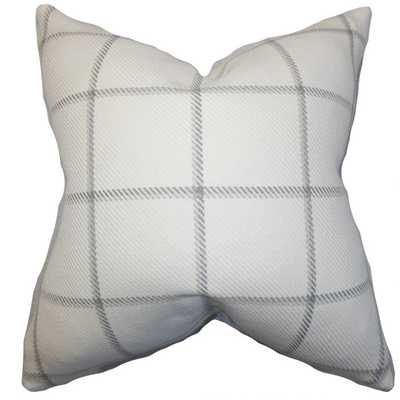 Wilmie Plaid Pillow Gray White, Polyester Insert - Linen & Seam