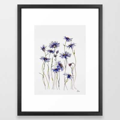 Blue Cornflowers - Vector Black - Society6