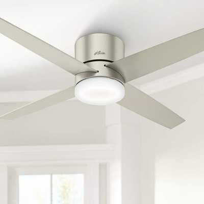 "54"" Hunter Advocate Matte Nickel LED Hugger Ceiling Fan - Lamps Plus"
