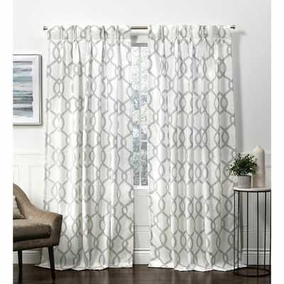 Block Linen Blend Hidden Geometric Room Darkening Rod Pocket Curtain Panels (pair) - Wayfair