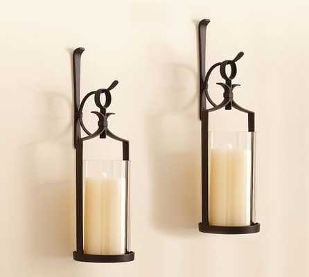 Artisanal Wall-Mounted Pillar Lantern, Iron - Set Of 2 - Pottery Barn