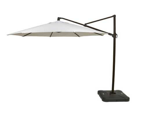 11 ft. Aluminum Cantilever Tilt Patio Umbrella in Off White with Black Pole - Home Depot