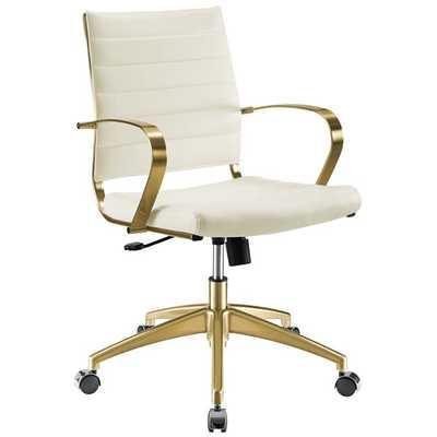 JIVE GOLD STAINLESS STEEL MIDBACK OFFICE CHAIR IN GOLD WHITE - Modway Furniture